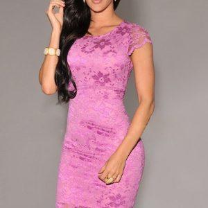 B265-55 Rochie conica roz cu dantela si captuseala - Rochii cu dantela - Haine > Haine Femei > Rochii Femei  > Rochii de seara > Rochii cu dantela