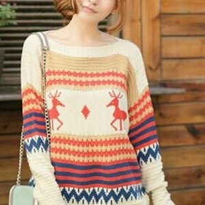 BL218-15 Bluza groasa tricotata cu imprimeu de Craciun - Bluze - Haine > Haine Femei > Bluze