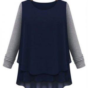 BL220-44 Bluza casual cu voal in partea inferioara - Bluze - Haine > Haine Femei > Bluze