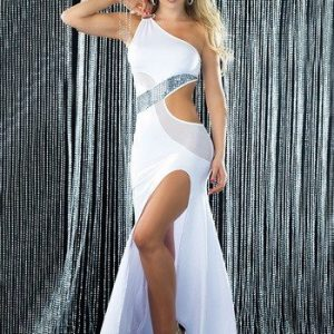 R180-2 Rochie lunga sexy pe un umar