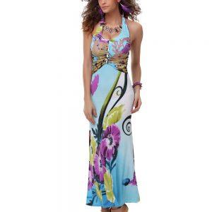 RV167-48 Rochie lunga de vara cu model colorat - Rochii de vara - Haine > Haine Femei > Rochii Femei  > Rochii de vara