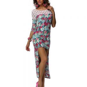RV172-4 Rochie cu trena si model floral - Rochii de vara - Haine > Haine Femei > Rochii Femei  > Rochii de vara