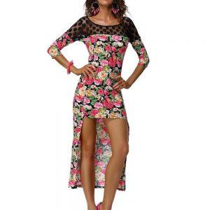 RV172-55 Rochie cu trena si model floral - Rochii de vara - Haine > Haine Femei > Rochii Femei  > Rochii de vara