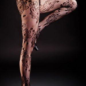 STK145-1 Ciorapi sexy din plasa si model floral - Ciorapi dama - Haine > Haine Femei > Ciorapi si manusi > Ciorapi dama
