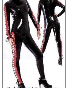T141- Salopeta Latex cu Snur Rosu Lateral - Costume latex si PVC - Haine > Haine Femei > Costume latex si PVC