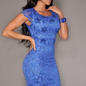 B265-4 Rochie conica albastra cu dantela - Rochii cu dantela - Haine > Haine Femei > Rochii Femei  > Rochii de seara > Rochii cu dantela