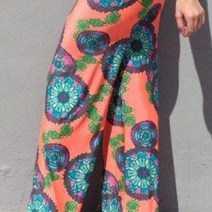 CL431 Pantaloni largi de plaja cu print floral - Pantaloni Lungi - Haine > Haine Femei > Pantaloni Dama > Pantaloni Lungi