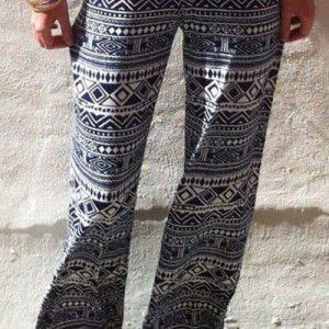 CL432-1122 Pantaloni largi de vara cu print abstract