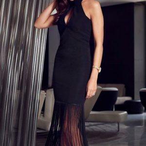 G435-1 Rochie sexy cu spatele gol si accesorizata cu franjuri in partea inferioara - Rochii accesorizate - Haine > Haine Femei > Rochii Femei  > Rochii de seara > Rochii accesorizate