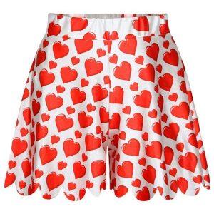 PAS10-232 Pantaloni scurti tip fusta cu model inimioare - Pantaloni Scurti - Haine > Haine Femei > Pantaloni Dama > Pantaloni Scurti