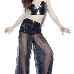 S412-1 Compleu sexy din latex si voal - bustiera si pantaloni lungi tip Palazzo - Oriental - Haine > Haine Femei > Costume Tematice > Oriental