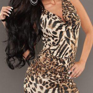 X385-99 Rochie sexi cu model Animal Print - Rochii accesorizate - Haine > Haine Femei > Rochii Femei  > Rochii de club > Rochii accesorizate