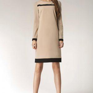 Beige Stylish Sunken Office Shift Dress - Dresses -