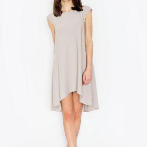 Beige asymmetrical dress with back seam zipper - Dresses -