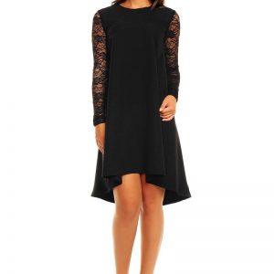 Black Asymmetrical Hemline Lace Sleeves Dress - Dresses -