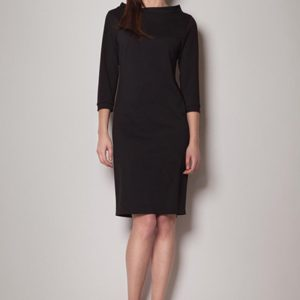 Black High Neck Textured Shift Dress with 3/4 Sleeves - Dresses -