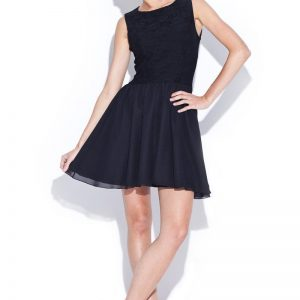Black Lace Bodice Dress with Layered Organza Skirt - Dresses -