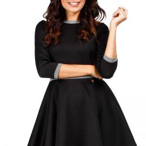 Black Retro Style A-line Mini Dress - Dresses -