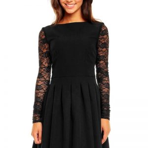 Black Sabrina Collar Lacey Pleat Dress - Dresses -