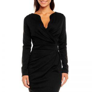 Black Scaloop Neckline Wrap Style Evita Dress - Dresses -