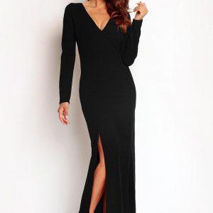 Black Slit Maxi Dress with V-Neckline - Dresses -
