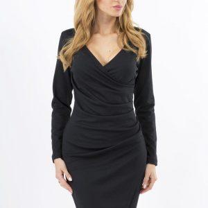 Black Wrap Around Back Seam Dress with V-Neckline - Dresses -