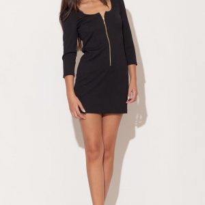 Black Zip Down Short Dress with 3/4 Sleeves - Dresses -