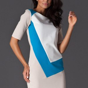 Blue Asymmetrical Color Block Shirt Dress - Dresses -