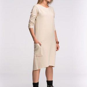 Box Shaped Beige Shift Dress - Dresses -