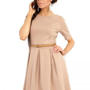 Coffee Magnanimous Modern Belted Tea-length Dress - Dresses -