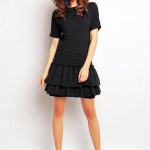 Dark grey drop waist dress with layered hemline - Dresses -