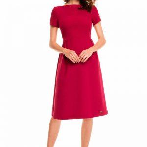 Dark red school dress with back zipper - Dresses -