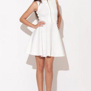 Ecru Light Hearted Sleeveless Flare Date Dress - Dresses -
