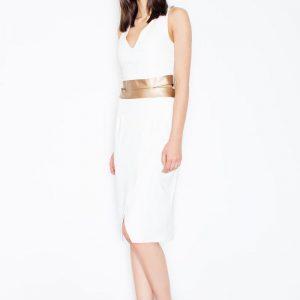 Ecru Racer Back Waist trimmed dress - Dresses -