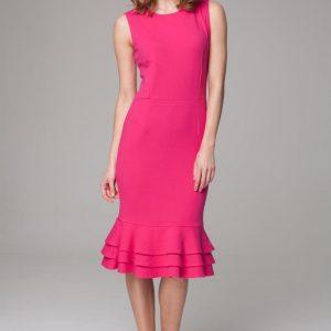 Elegant dark pink midi dress with ruffled hemline - Dresses -