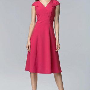 Fuchsia V Neck Cross Bodice Seam Dress with Cap Sleeves - Dresses -