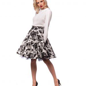 Fusta imprimeu floral alb-negru 4007 - FUSTE - Fusta