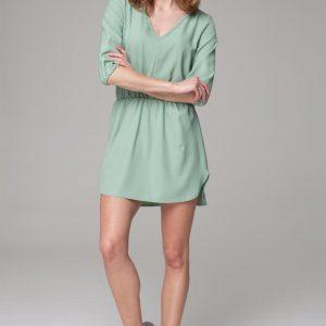 Green printed summer dress with round hemline - Dresses -