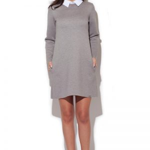 Grey Flecked shift dress with contrast collars - Dresses -