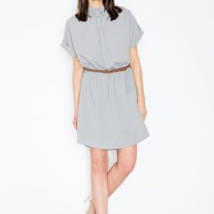 Grey collared shirt dress with leather belt - Dresses -
