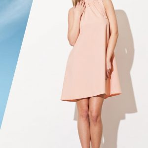 Light Pink Pleated Neckline Shirt Dress with Bow Tie - Dresses -