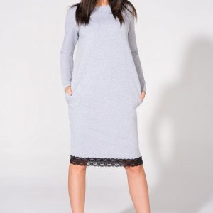 Light grey tunic dress with contrast lace trim - Dresses -