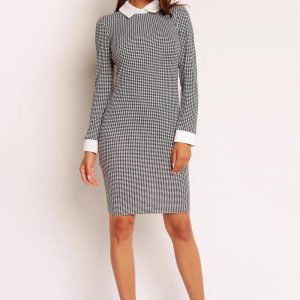 Minimalist Houndstooth Dress With White Collar - Dresses -