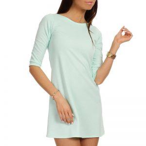 Mint Shift Dress with Metallic Emblem - Dresses -