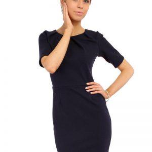 Navy Blue Pleated Neckline Belted Shift Dress - Dresses -
