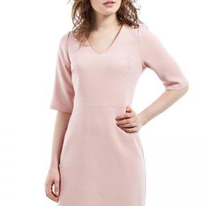 Powder Pink Pencil Dress With V Neck Mini Length - Dresses -