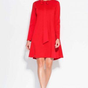 Red A Line dress with bow neckline - Dresses -