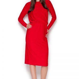 Red Back Slit Knee Length Shift Dress - Dresses -