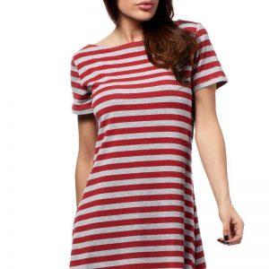 Red Bateau Neck Striped Dippy Hemline Shift Dress - Dresses -