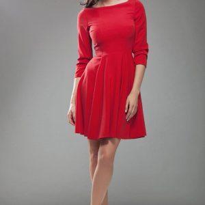 Red High Elegance Workwear Skater Dress - Dresses -